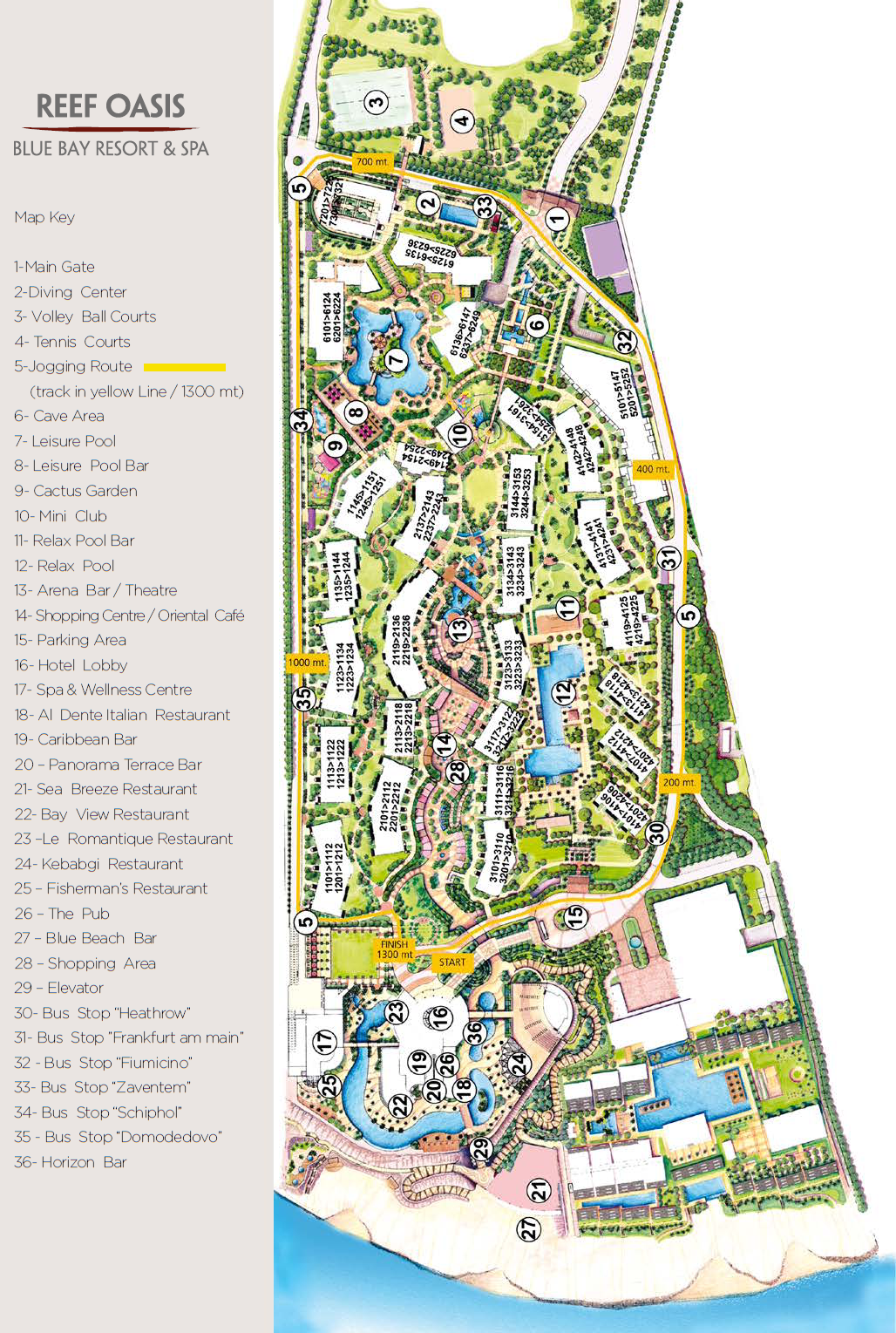 Карта отеля Reef Oasis Blue Bay Resort & Spa